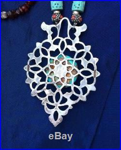 Extra Large 4 Sterling Door Knocker Morocco Necklace Multi-cultural Turquoise