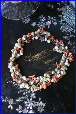 Extremely RARE Antique Sweetheart Iridescent Trochus Shell & Red Coral Necklace