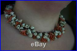 Extremely RARE Antique Victorian Tasmanian Maireener Shell & Red Coral Necklace