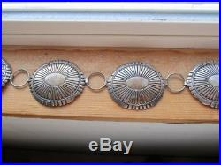 Fantastic Vintage Sterling Silver Navajo Concho Belt Linda Marble Signed 516 gm