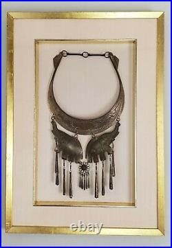 Framed Antique Silver Torque Necklace & Earrings Tribal Cultural Asian Jewelry