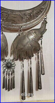 Framed Antique Silver Torque Necklace & Earrings Tribal Cultural Hmong Jewelry