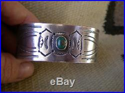Genuine Authenticated Old Navajo Pawn Ingot Silver And Turquoise Cuff Bracelet