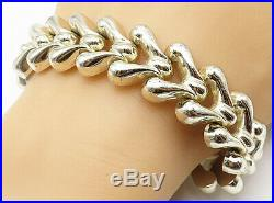 GERMANY 925 Sterling Silver Puffy Fish Bone Link Smooth Chain Bracelet B4559