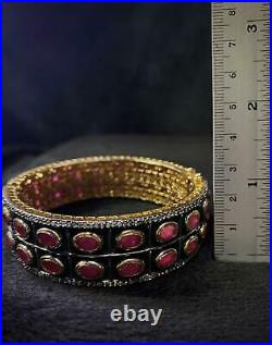 Gold Gulding Beautiful Vintage Bangle Bracelet With Natural Ruby Gemstones