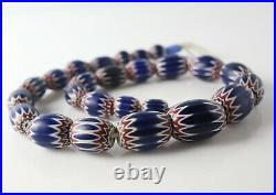 Graduated African Trade Beaded Glass Necklace, 6 layer chevron pattern