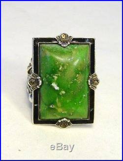 Green Turquoise Native American Indian Tribal Size 10 Old Pawn Sterling Ring