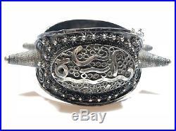 HEAVY PATINA! Medieval & Unique Ladies Sterling Silver Spike Bracelet