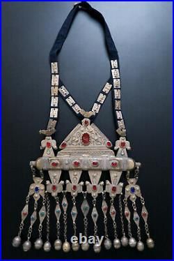 HUGE OLD TURKMEN PENDANT Tumar with Secret Compartment Old Tribal Jewelry