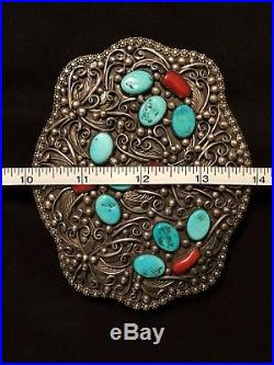 HUGE Vintage Navaho STERLING SILVER TURQUOISE & CORAL BELT BUCKLE 5 204 Gr