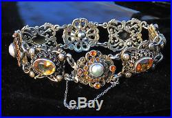 Hungarian Antique Genuine Citrine & Pearl Tested Silver Bracelet Small Wrist6.5