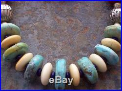 Hand Made, Antique Trade Bead necklace w Turquoise, Bone, shell and Alloy