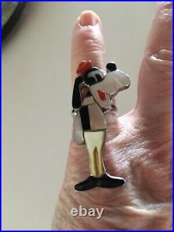 Handmade Goofy Disney Sterling Silver Inlay Ring Size 6.5