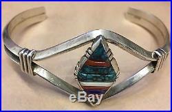 Handmade Oscar Alexiu NATIVE Southwestern STERLING Silver 925 BRACELET Turquoise