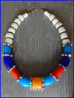 Handmade antique trade bead necklace shell, coral, Brass & old European beads