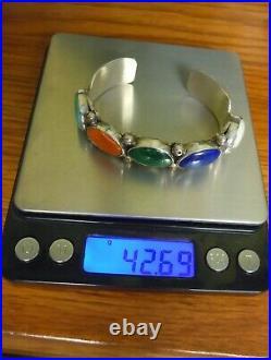 Herman SECATERO Navajo Turquoise Lapis Sterling Cuff Bracelet 925 42 g SZ SMALL