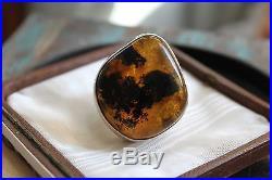 Huge 20 g Vintage STERLING Silver HONEY AMBER Statement Ring sz 9.5