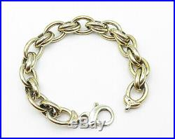 ITALY 925 Silver Minimalist Gold Plated Rolo Link Chain Bracelet B4111