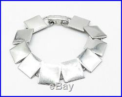ITALY 925 Sterling Silver Flat Square Linked Minimalist Chain Bracelet B4113