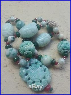 Imperial Ruby Emerald Dushan Jade Carved And Gemstone Necklace Shou Pendant