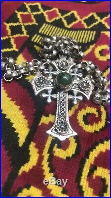 Jerusalem Large Cross Vintage Necklace Green Eilat Stone Sterling Silver 925