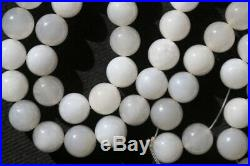 Jewelry059 A Strand of Chinese White Jade Beads, late Qing Dynasty 52 inches