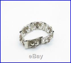 KA NORWAY 925 Silver Vintage Modernist Floral Swirl Chain Bracelet B6980