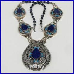 Kuchi Necklace Afghan Ethnic Turkmen Tribal Lapis Lazuli Inlay Necklace, TN237