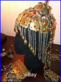 Kuchi Turkaman Tribal Belly Dance Headdress, Breast Plate And Hand Bracelets