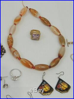 LOT of Vintage & other Jewelry 10pr Earrings 3 Rings Necklace Bracelet Beads Pin