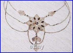 Large 25 g Vintage Spun STERLING Silver Multi Chain FESTOON Statement Necklace