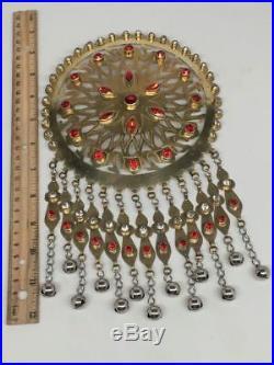 Large Afghan Turkmen Pendant Round Golden Color Bells Statement Boho Kuchi, TN264