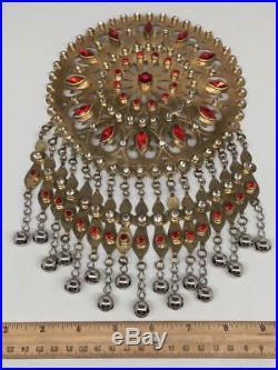 Large Afghan Turkmen Pendant Round Golden Color Bells Statement Boho Kuchi, TN265