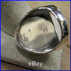 Large Oval Vintage Sterling Silver Brown Stone WithBlack Matrix Men's Ring Size 12