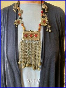 Large Vintage Bedouin Afghan Kuchi Silver Stones Necklace 26x8 Great Filigree