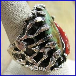 Large Vintage Sterling Silver Green Turquoise & Coral Branch Men's Ring Size 10