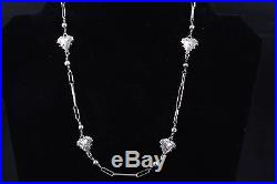 Leaf Long Oval Link & Beads Snake Clasp Vintage Sterling Necklace 7743