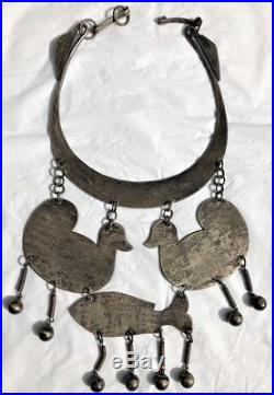Lg Unique Antique Hand Wrought Ethnic Ster. Silver Necklace Ducks Fish Engraved