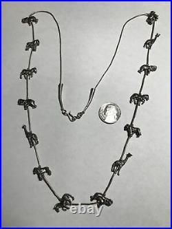 Liquid Sterling Silver Endangered Species Animal Fetish Necklace29 7/8 UNIQUE