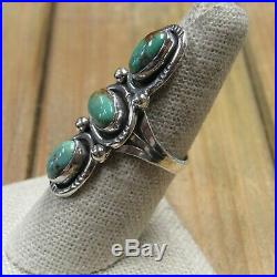 Long Vintage Sterling Silver Green Turquoise Ring Size 8.25