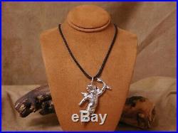 Long Vintage Sterling Silver Large Cupid Necklace