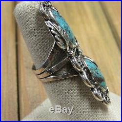Long Vintage Sterling Silver Turquoise Ring Size 7.5