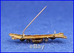 Lovely Antique Portuguese Gold (19k) Pin With Pearls & Synthetic Red Stone 3.4g