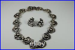Lovely Sterling Mexican 925 Hechden Necklace and Earrings