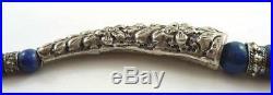 Lovely Vintage Ethnic Lapis Lazuli & White Metal Choker Style Necklace