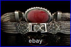 Marcasite Bracelet 925 Silver Bracelet Antique Silver Braclet Sz 170x23 mm Wt 36