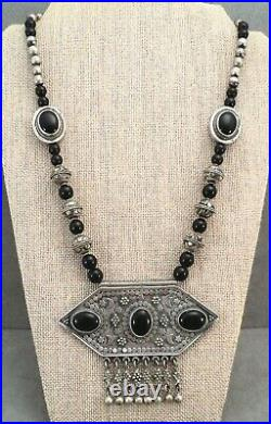 Massive Kuchi STERLING Silver Onyx NECKLACE Berber AFGHAN Dangle Beads Moon Star