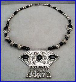Massive STERLING Silver Kuchi Onyx NECKLACE Berber AFGHAN Dangle Beads Moon Star