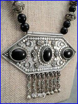 Massive STERLING Silver Onyx NECKLACE Berber AFGHAN Kuchi Dangle Beads Moon Star