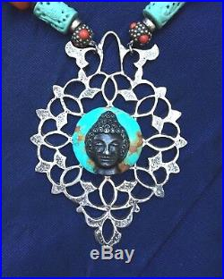 Moroccan 4 Sterling Door Knocker Necklace Multi-cultural Amber Coral Turquoise